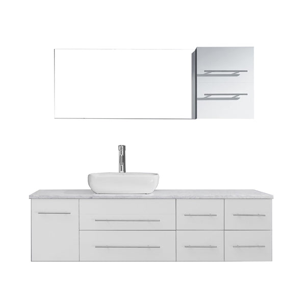 "Virtu USA Justine 59"" Single Bathroom Vanity w/ Square Sink, Faucet, Mirror"