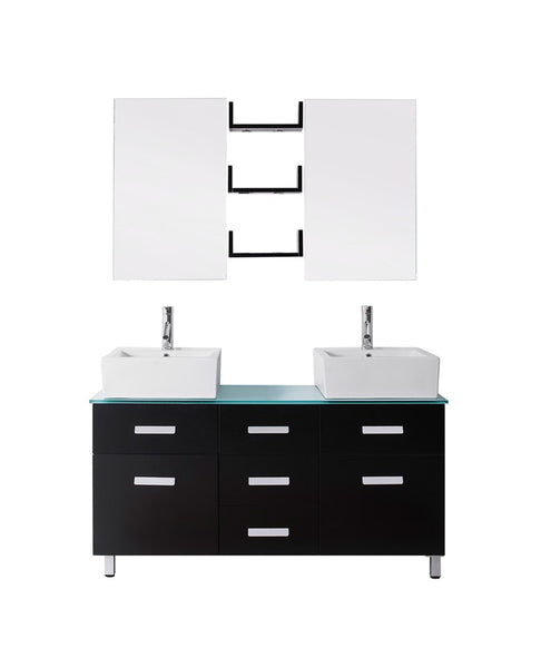 "Virtu USA Maybell 55"" Double Bathroom Vanity w/ Glass Top, Sink, Faucet, Mirror"