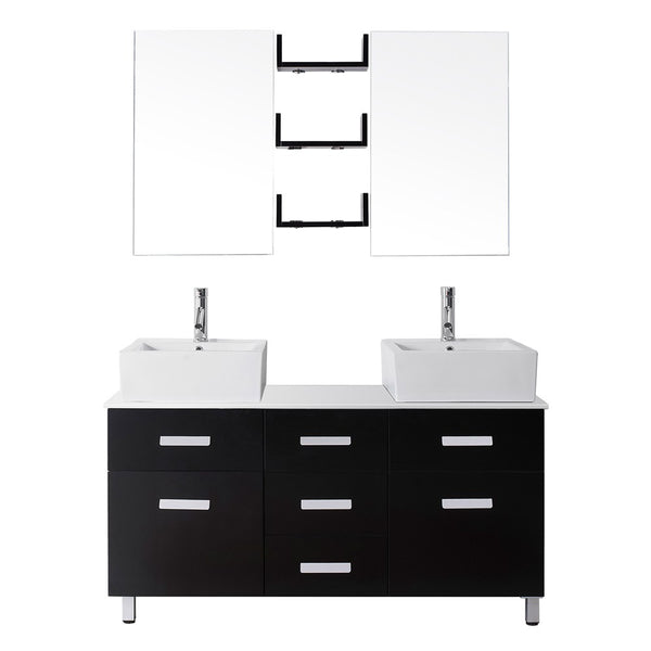 "Virtu USA Maybell 55"" Double Bathroom Vanity w/ Stone Top, Sink, Faucet, Mirror"