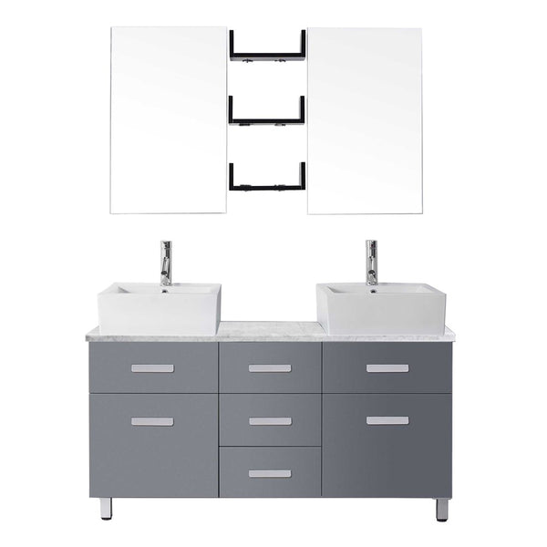 "Virtu USA Maybell 55"" Double Bathroom Vanity w/ Square Sink, Faucet, Mirror"