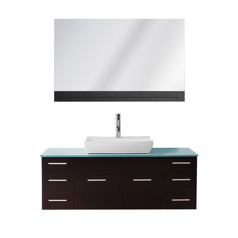 "Virtu USA Biagio 55"" Single Bathroom Vanity w/ Glass Top, Sink, Faucet, Mirror"