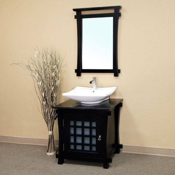 "Bellaterra Home 30"" Black Wood Single Sink Vanity Set - 203012 - Bath Vanity Plus"