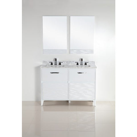 "Bellaterra Home 48"" White Double Sink Vanity with White Marble Top - 500709-48D-WC - Bath Vanity Plus"