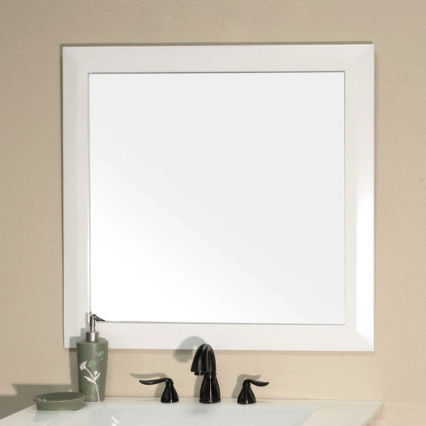 "Bellaterra Home 32"" White Wood Framed Mirror - 203054-Mirror-WH - Bath Vanity Plus"