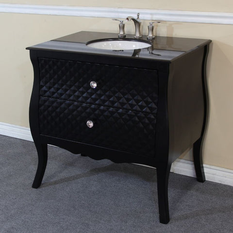 "Bellaterra Home 36"" Black Wood Single Vanity Set - 203057B - Bath Vanity Plus"