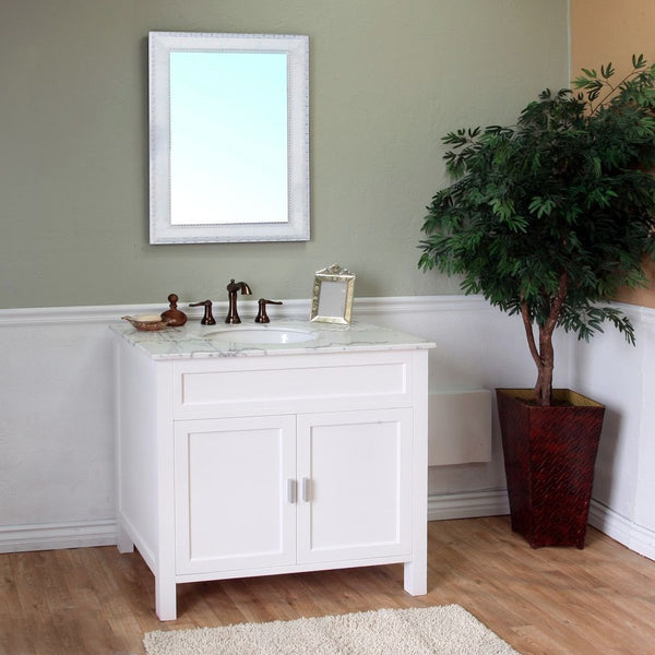 "Bellaterra Home 36"" White Wood Single Sink Vanity Set - 600168-36W - Bath Vanity Plus"