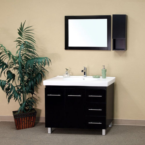 "Bellaterra Home 40"" Black Wood Single Sink Vanity Set (Left or Right Drawers) - 203129-B - Bath Vanity Plus"