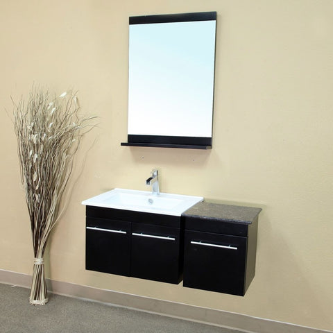 "Bellaterra Home 40"" Black Wood Single Wall-Mount Sink Vanity - 203172-SET - Bath Vanity Plus"