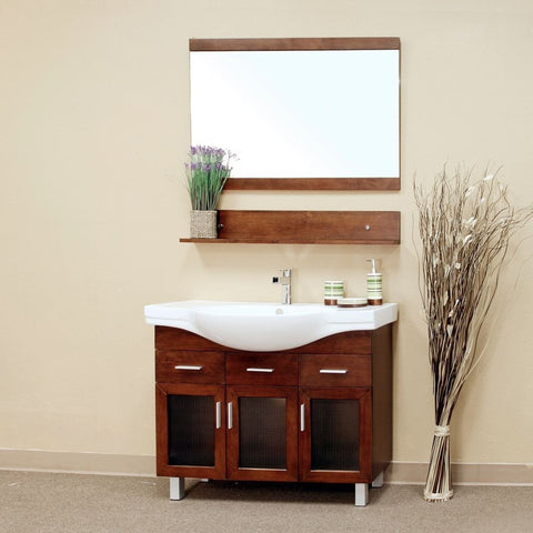 "Bellaterra Home 40"" Walnut Wood Single Sink Vanity Set - 203139 - Bath Vanity Plus"