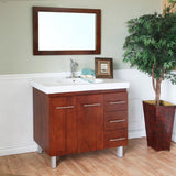 "Bellaterra Home 40"" Walnut Wood Single Sink Vanity Set (Left or Right Drawers) - 203129-W - Bath Vanity Plus"