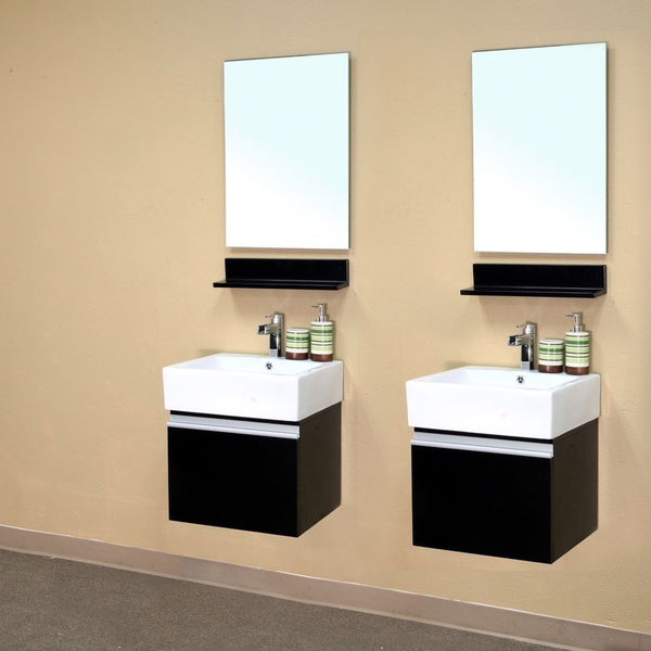 "Bellaterra Home 41"" Espresso Wood Double Wall-Mount Sink Vanity - 203145-D - Bath Vanity Plus"