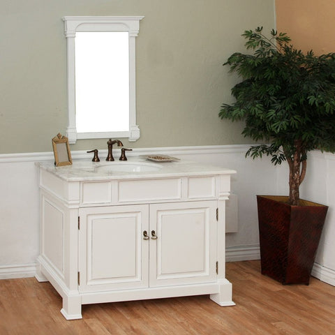 "Bellaterra Home 42"" White Wood Single Sink Vanity Set - 205042-WH - Bath Vanity Plus"