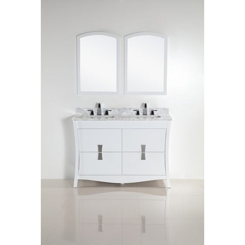 "Bellaterra Home 48"" Double sink vanity with White Marble Top - 500701-48D-WC - Bath Vanity Plus"