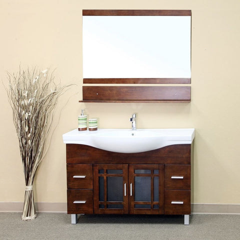 "Bellaterra Home 48"" Walnut Wood Single Sink Vanity Set - 203138 - Bath Vanity Plus"