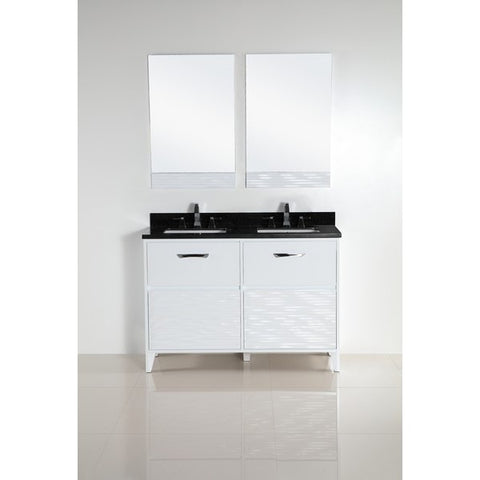 "Bellaterra Home 48"" White Double Sink Vanity with Black Granite Top - 500709-48D-BG - Bath Vanity Plus"