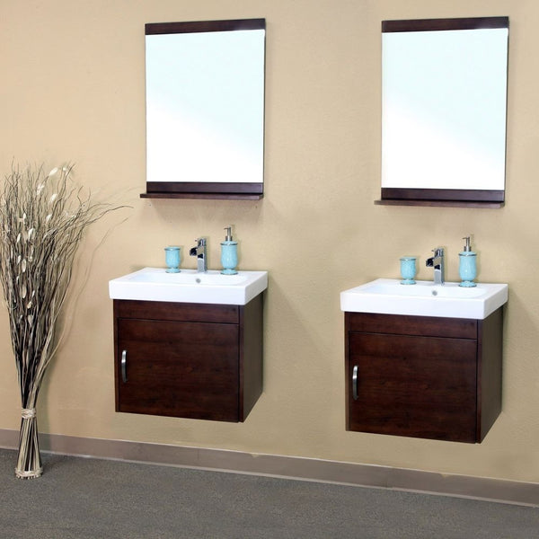 "Bellaterra Home 49"" Walnut Wood Double Wall-Mount Sink Vanity - 203136-D - Bath Vanity Plus"