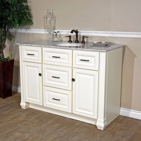 "Bellaterra Home 50"" Antique White Single Sink Vanity Set - 605022 - Bath Vanity Plus"