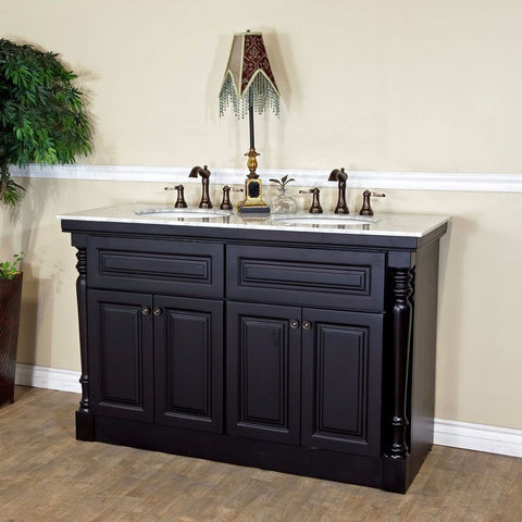 "Bellaterra Home 55"" Dark Mahogany Double Sink Vanity Set - 605522A - Bath Vanity Plus"
