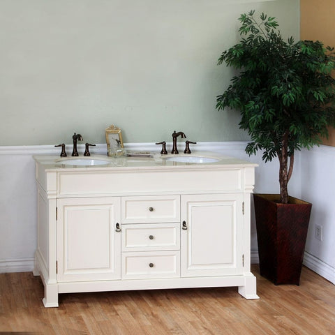 "Bellaterra Home 60"" Cream White Wood Double Sink Vanity Set - 205060-D-CR - Bath Vanity Plus"