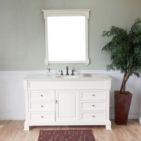 "Bellaterra Home 60"" Cream White Wood Single Sink Vanity Set - 205060-S-CR - Bath Vanity Plus"