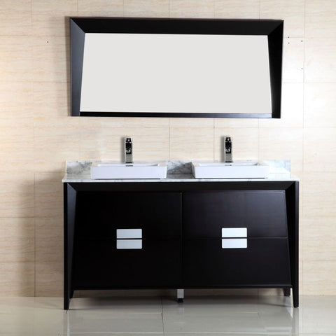 "Bellaterra Home 60"" Dark Espresso Double Sink Vanity Marble Top - 500410-ES-WH-60D - Bath Vanity Plus"
