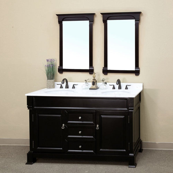 "Bellaterra Home 60"" Espresso Wood Double Sink Vanity Set - 205060-D-ES - Bath Vanity Plus"
