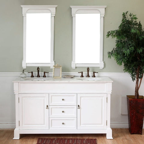 "Bellaterra Home 60"" White Wood Double Sink Vanity Set - 205060-D-WH - Bath Vanity Plus"