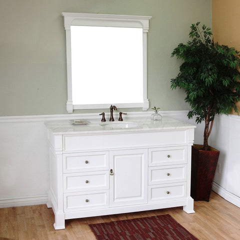 "Bellaterra Home 60"" White Wood Single Sink Vanity Set - 205060-S-WH - Bath Vanity Plus"
