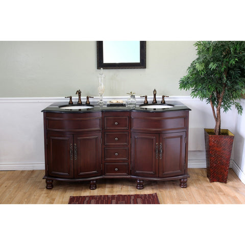 "Bellaterra Home 62"" Colonial Cherry Double Sink Vanity Set Granite Top- 603316-C-BG - Bath Vanity Plus"