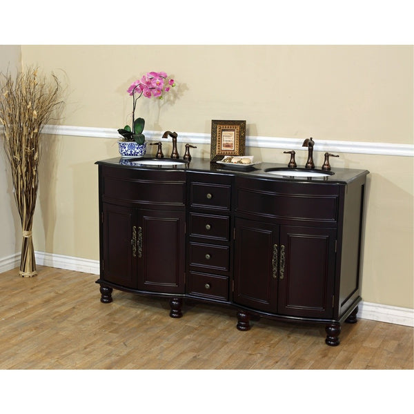 "Bellaterra Home 62"" Dark Mahogany Double Sink Vanity Granite Top - 603316-DM-BG - Bath Vanity Plus"