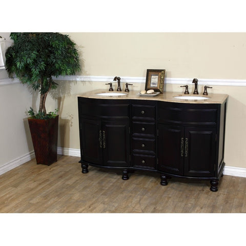 "Bellaterra Home 62"" Dark Mahogany Double Sink Vanity Travertine Top - 603316-DM-TR - Bath Vanity Plus"