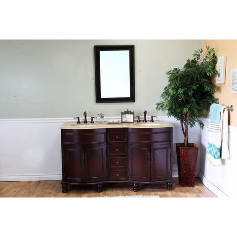 "Bellaterra Home 62"" Walnut Double Sink Vanity Travertine Top - 603316 - Bath Vanity Plus"