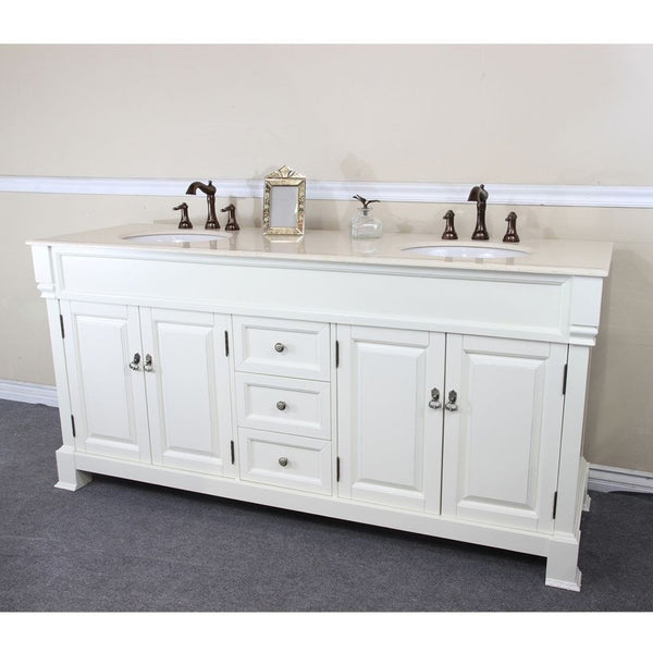 "Bellaterra Home 72"" Cream White Wood Double Sink Vanity Set - 205072-D-CR - Bath Vanity Plus"