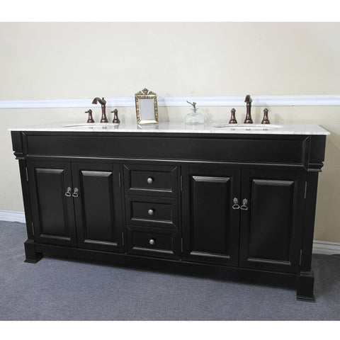 "Bellaterra Home 72"" Espresso Wood Double Sink Vanity Set - 205072-D-ES - Bath Vanity Plus"