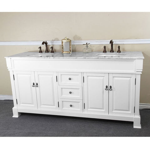"Bellaterra Home 72"" White Wood Double Sink Vanity Set - 205072-D-WH - Bath Vanity Plus"
