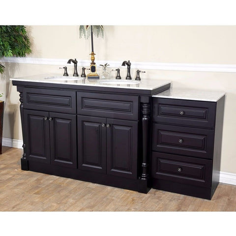 "Bellaterra Home 74"" Dark Mahogany Double Sink Vanity Set - 605522B - Bath Vanity Plus"