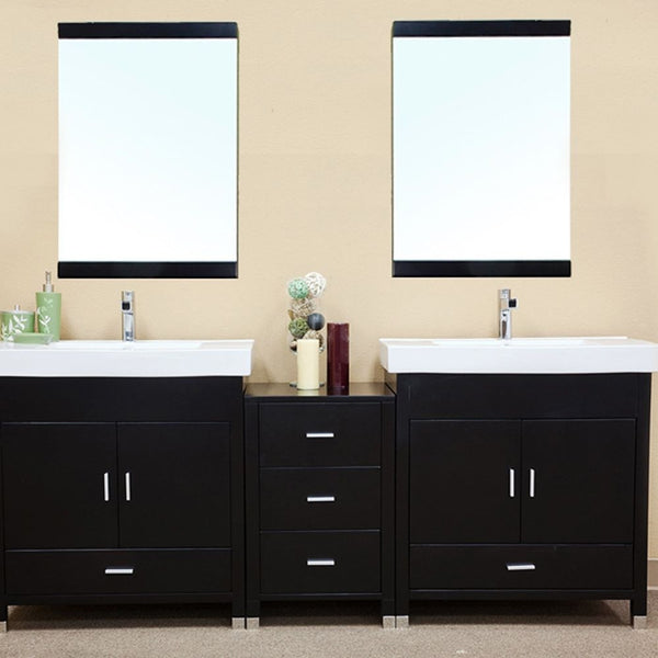 "Bellaterra Home 81"" Black Wood Double Sink Vanity - 203107-D - Bath Vanity Plus"