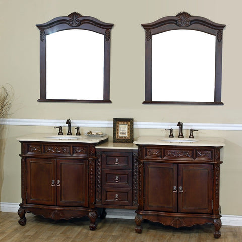 "Bellaterra Home 83"" Walnut Double Sink Vanity with Cream or White Marble Top - 202016A-D - Bath Vanity Plus"