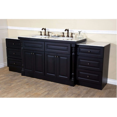 "Bellaterra Home 93"" Dark Mahogany Double Sink Vanity Set - 605522C - Bath Vanity Plus"
