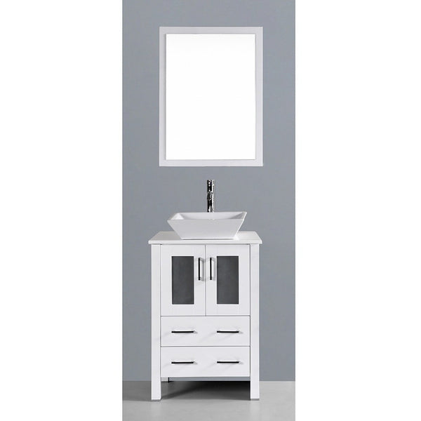Bosconi 24 White Single Vanity Set With Square Vessel Sink Aw124s