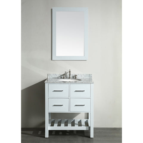 Bosconi 30'' Single Vanity - SB-250-1WH - Bath Vanity Plus