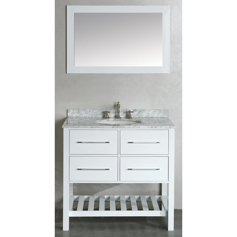 "Bosconi 36"" Single Vanity - SB-250-3WH - Bath Vanity Plus"