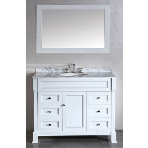 "Bosconi 43"" Contemporary Single Vanity in White - SB-278WH - Bath Vanity Plus"