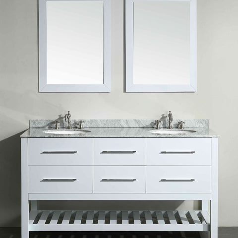 "Bosconi 60"" Double Vanity - SB-250-5WH - Bath Vanity Plus"