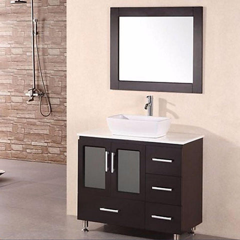 "Design Element 36"" Stanton Single Sink Vanity Set with Vessel Sink - B36-VS - Bath Vanity Plus"