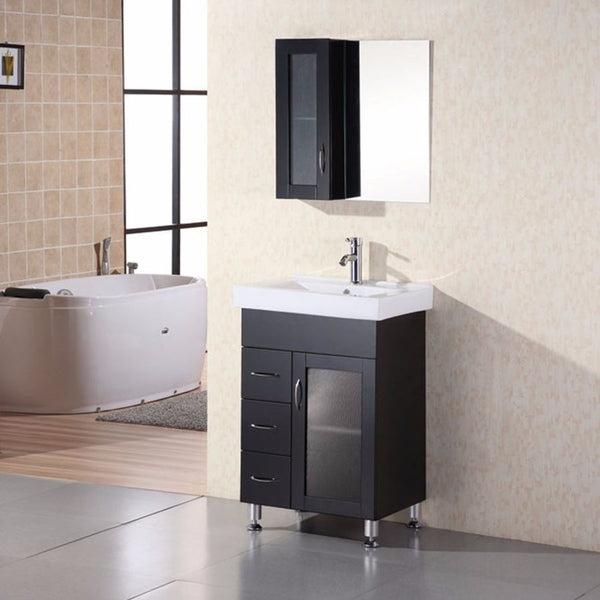 "Design Element 24"" Milan Single Sink Vanity Set - DEC022 - Bath Vanity Plus"