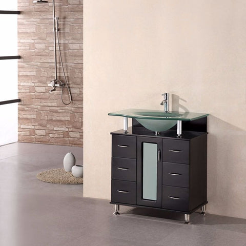 "Design Element 30"" Huntington Single Sink Vanity Set in Espresso - DEC015A - Bath Vanity Plus"