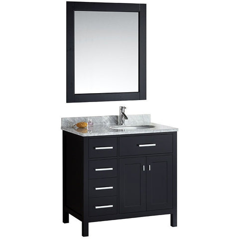"Design Element 36"" London Stanmark Single Sink Vanity Set in Espresso - DEC076D - Bath Vanity Plus"