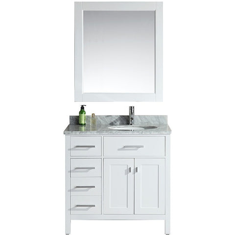 "Design Element 36"" London Stanmark Single Sink Vanity Set in White - DEC076D-W - Bath Vanity Plus"