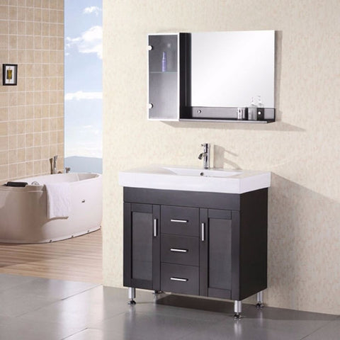 "Design Element 36"" Milan Single Sink Vanity Set - DEC021 - Bath Vanity Plus"